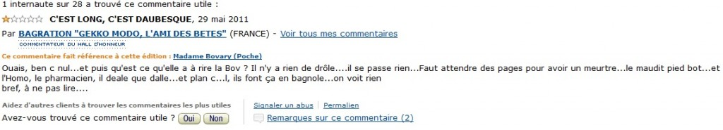 Commentaire Madame Bovary